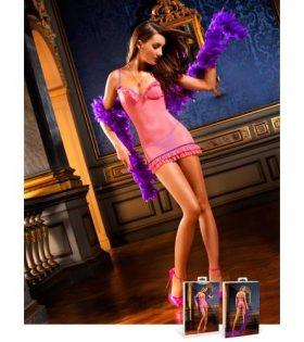 Полупрозрачна,розова рокля с волани и ак