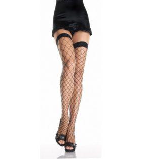 Чорапи от широка мрежа с плътна лента, черни