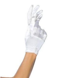 Бели сатенени ръкавици