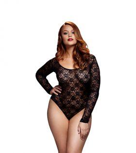 Baci - Black Lacy Bodysuit Back Cutout Queen Size