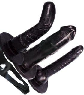 Комплект пенис колани STRAP BLACK 3 бр. сменяеми