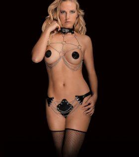 Angela - Strappy Silver Chain - Black