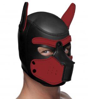 Neoprene Puppy Hood - Black and Red