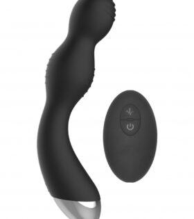 Remote Controlled E-Stim & Vibrating G/P-Spot Vibrator - Black