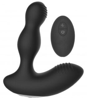 Remote Controlled E-Stim & Vibrating Prostate Massager - Black