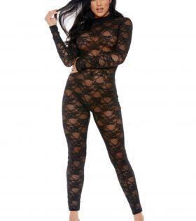 Sweet Little Lace Jumpsuit - Black